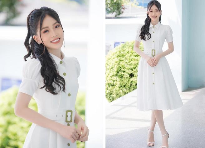 Á hậu Phương Nga khoe nhan sắc xinh đẹp, yêu kiều với váy trắng