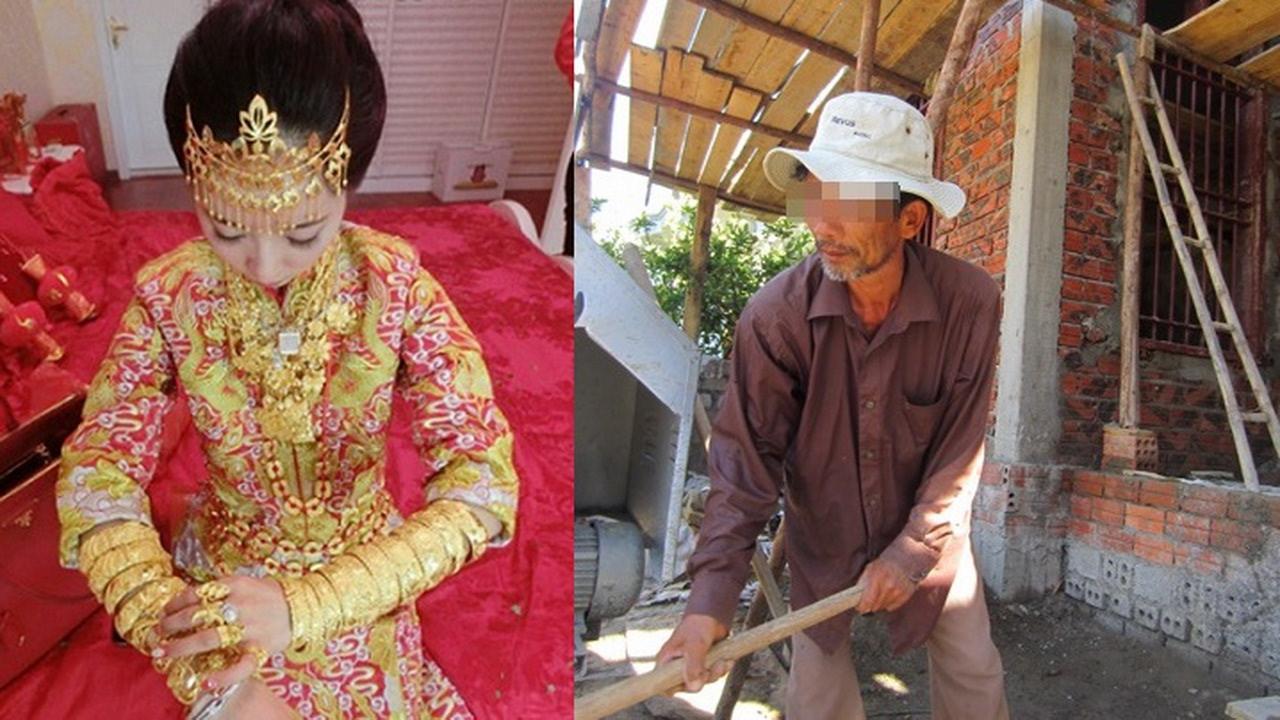 Áo cưới còn nguyên trên người, tôi tháo hết 100 cây vàng trả nhà chồng đại gia rồi dắt người bố mù về quê