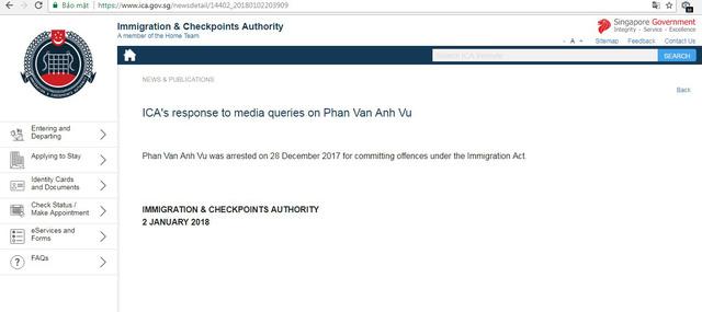 """Hải quan Singapore xác nhận bắt giữ """"Phan Van Anh Vu"""""""