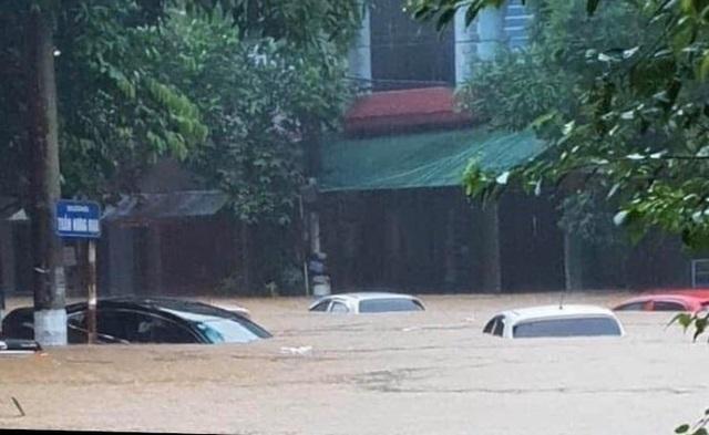 Hình ảnh lũ lụt hãi hùng, ô tô