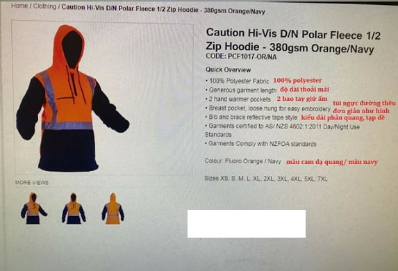 Khách hàng người New Zealand có nhu cầu nhập khẩu 13.000 áo bảo hộ lao động