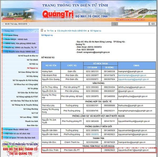 Chức danh ông Nguyễn Đức Thiện đã được đăng tải trên trang thông tin điện tử Quảng Trị sau khi được thăng tiến lên Phó Giám đốc phụ trách Trung tâm Phục vụ đối ngoại trực thuộc Sở Ngoại vụ tỉnh Quảng Trị