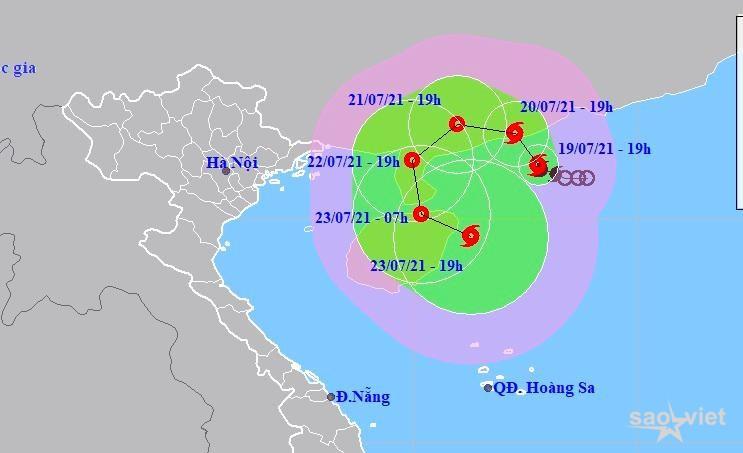 Hình ảnh dự báo đường đi và vùng ảnh hưởng của bão số 3