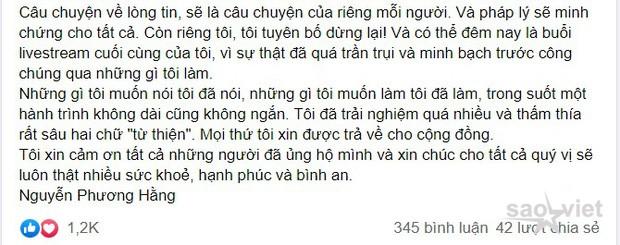 Xôn xao bức tâm thư của bà Phương Hằng: Tuyên bố dừng lại, đêm nay thực hiện buổi livestream cuối cùng - Ảnh 2.